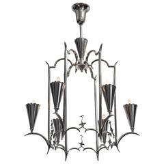 Max Kruger, German Art Deco 6 Light Nickel Chandelier