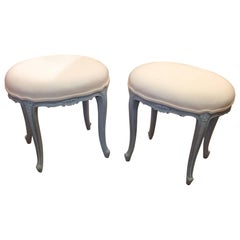Very Pretty Pair of French Oval Stools Ottomans