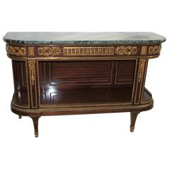 Fine French Ormolu Bronze-Mounted Marble-Top Dessert Demilune Console Sideboard