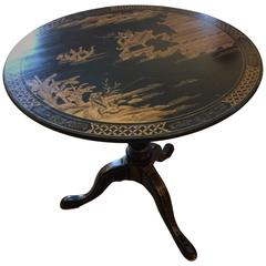 19th Century English Chinoiserie Round Tilt Top Center or Side Table