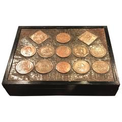 Vintage Lidded Box with Countersunk Coins
