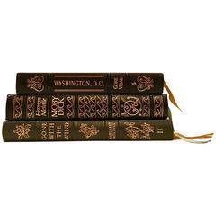 Set of Three 20th Century Leather Bound and 22-Karat Gold Classic Books