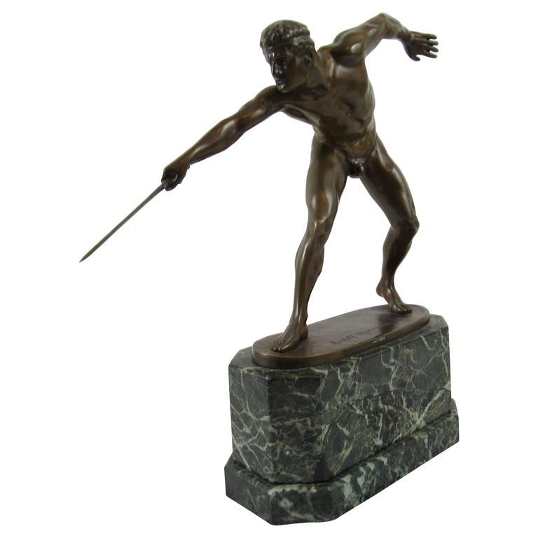 Rudolf Marcuse Bronze Sculpture the Fighting Gladiator, Signed