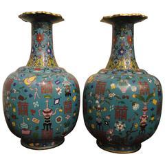 Pair of Peacock Blue Bottle Shaped Vases