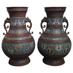 Massive Pair of Champlevé Japanese Vases