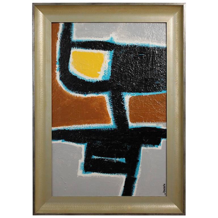 "Ken Joaquin Original Abstract Oil Painting ""Cat"""