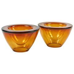 Mid-Century Pair of Orange Glass Vases, 1950s England