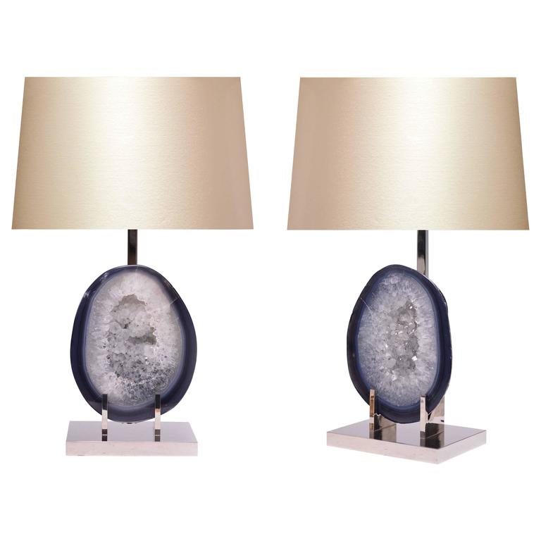 Pair of Grayish Blue Natural Agate Lamps