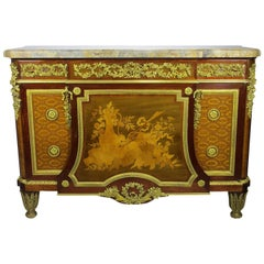 Fine French 19th Century Louis XVI Style Gilt-Bronze Mounted Marquetry Commode