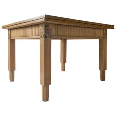 Manner of Eliel Saarinen, Finnish Intricately Carved Oak Jugend Expandable Table