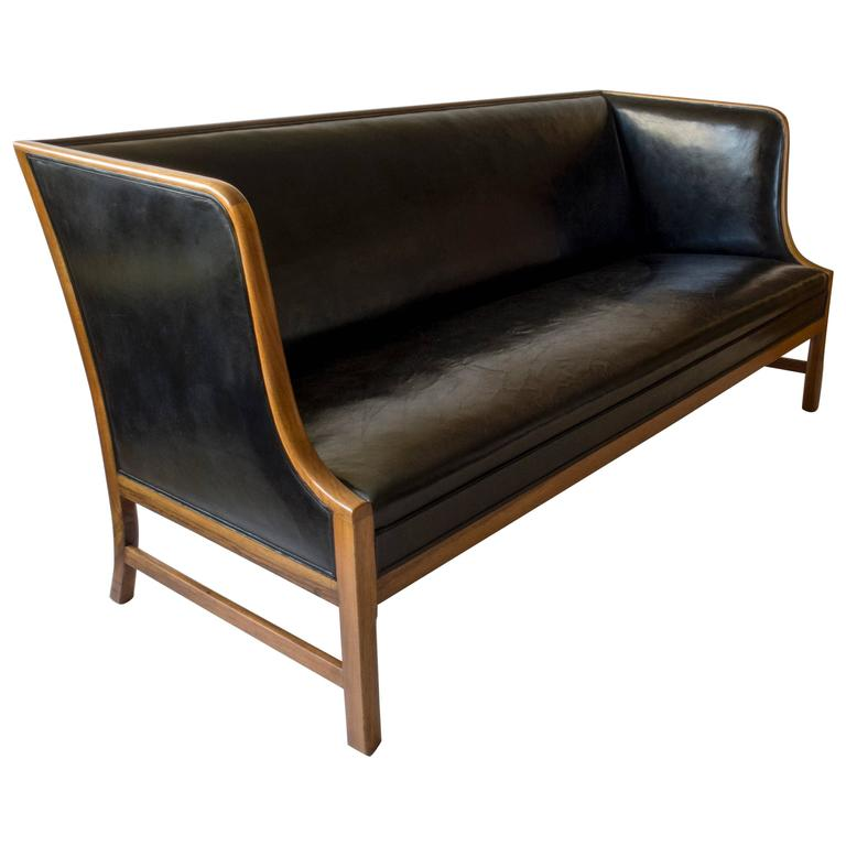 Famechon Sofa With Channeled Back And Seat Walnut Legs: Ole Wanscher For A.J. Iverson, Rare Danish Walnut And