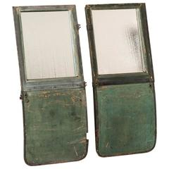 1950s English Pair of Mirrors Made from Green Carriage Doors