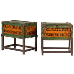 Early 20th Century English Set of Crate Side Table on Steel Bases