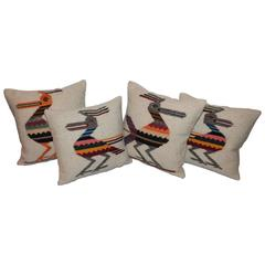 Folky Collection of Four Road Runner Mexican  Indian Weaving Pillows