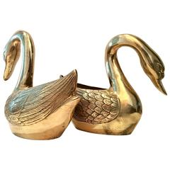 Pair of Large Brass Swan Planter Sulptures