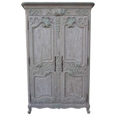 French Louis XV Style Carved Painted Armoire