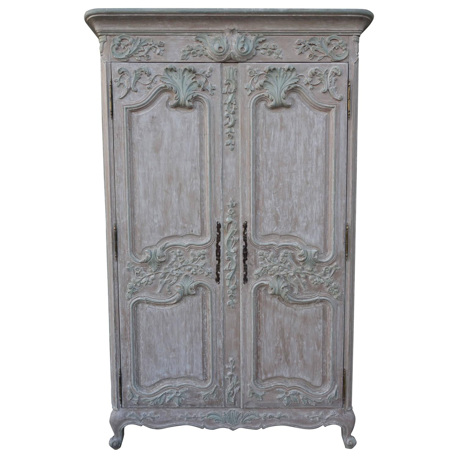 french louis xv style carved painted armoire for sale at. Black Bedroom Furniture Sets. Home Design Ideas