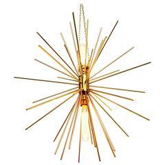 European Modern Starburst Solid Brass Chandelier from Great Britain