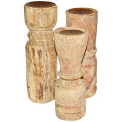 Three Rustic Teak Candleholders