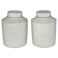Pair of White Vintage Chinese Ginger Jars