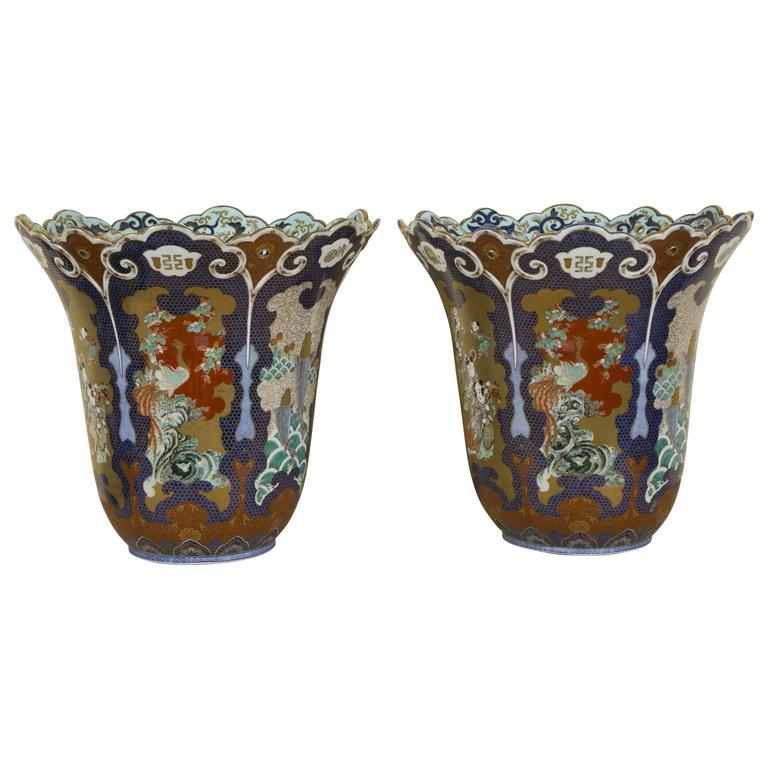 Pair of 19th Century Extra Large Japanese Palatial Fukukawa Vases, Meiji Period For Sale