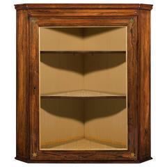 Regency Brass Inlaid Rosewood Hanging Corner Diplay Cabinet