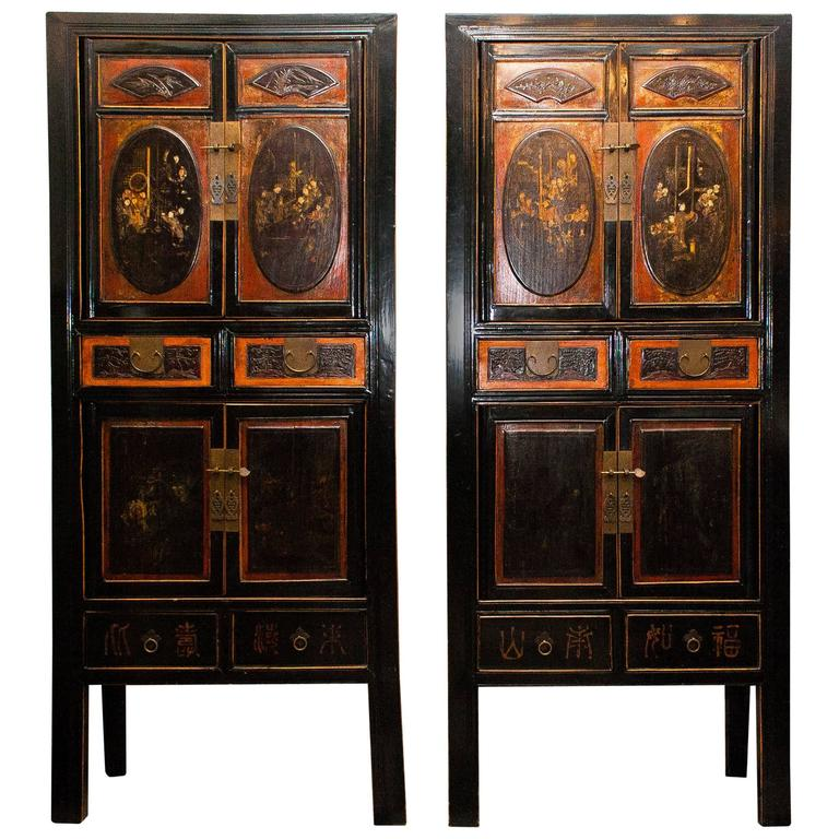 1900s, Set Of Two Antique Chinese Cabinets 1