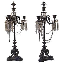 Pair of 20th Century French Iron and Crystal Tall and Sculptural Candelabras