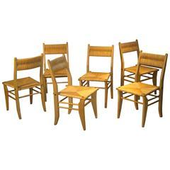 Guillerme et Chambron, Set of Six Oak Chairs, Edition Votre Maison, 1960