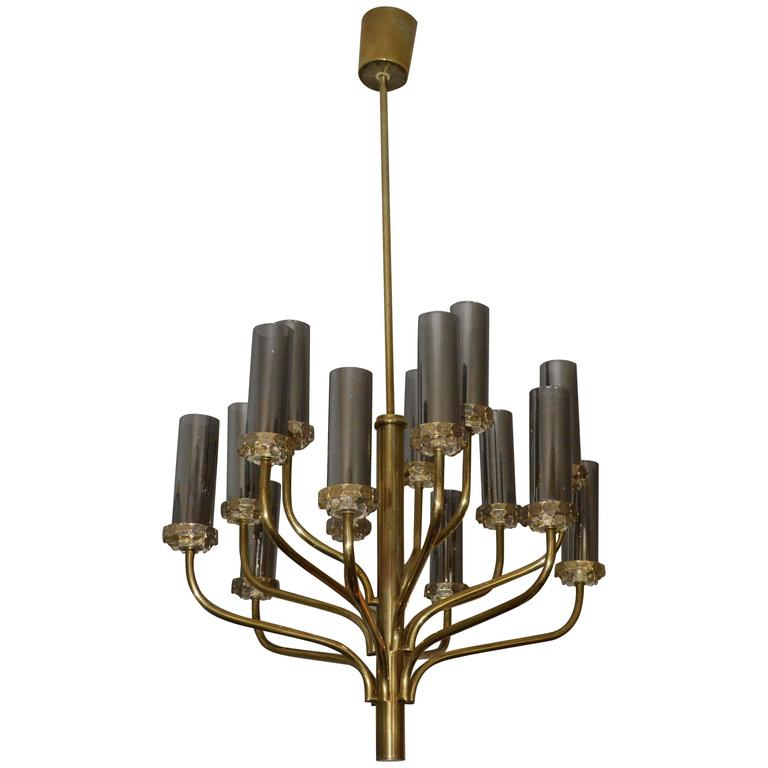Large Midcentury Fifteen-Light Brass and Smoked Glass Chandelier