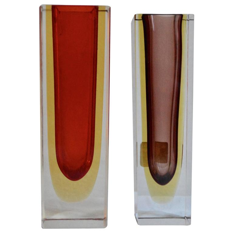 Pair of Mid-Century Red and Burgundy Sommerso Vases