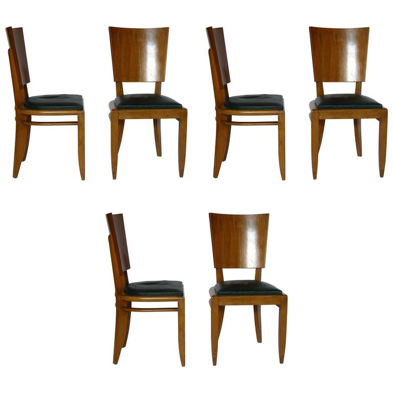 Set of Six French Art Deco Beech and Walnut Dining Chairs For Sale