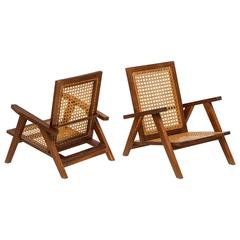 Pierre Jeanneret Style Caned Lounge Chairs, 1950s-1960s Mid-Century, France