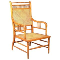 E W Godwin. by William Watt. An Anglo-Japanese Beech and Caned Armchair
