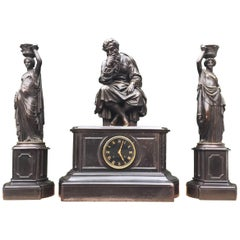 Antique Bronze & Black Marble Clock Garniture by Deniere A Paris the Philosopher