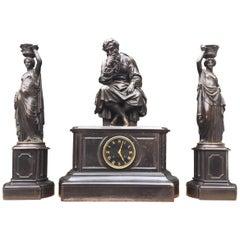 Gorgeous Bronze & Black Marble Clock Set by Deniere A Paris the Philosopher