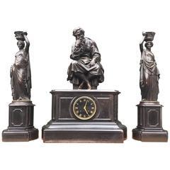 Antique Bronze & Black Marble Clock Garniture by Deniere A Paris the Philosopher