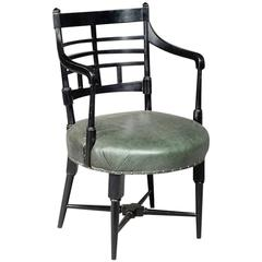 Old English or Jacobean Ebonized Curved Back Elbow Chair, by E W Godwin