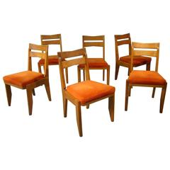 Guillerme et Chambron, Set of 6 Oak Chairs. Edition Votre Maison, 1970