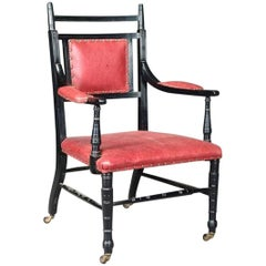 Ebonized Upholstered Armchair Made by Oetzmann, After a Design by E.W. Godwin
