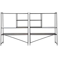 1950s Iron Room Dividers Shelves by Freda Diamond