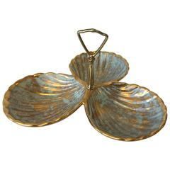 1970s Stangl Gold and Turquoise Seashell Serving Dish