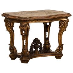 Antique Italian Gilded Wood Table from the Belle Epoque Period, circa 1890