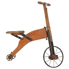 19th Century, Little Bicycle Made of Solid Wood with Metal Wheels