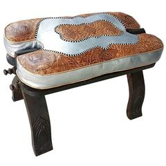 Moroccan Camel Saddle, Silver and Tan Cushion