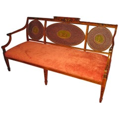 Adam Style Painted Satinwood Triple Chair Caned Back Bench Settee
