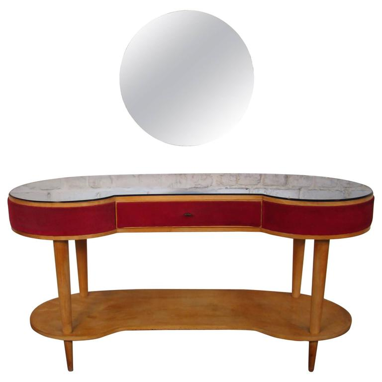 Dressing table and its stool in veneer cherrywood and blue for Coiffeuse avec miroir ancienne