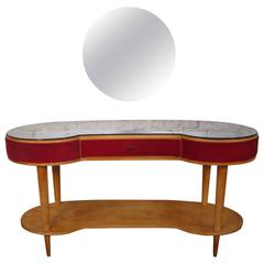 Dressing Table and Its Stool in Veneer Cherrywood and Blue-Toned Glass, Italy