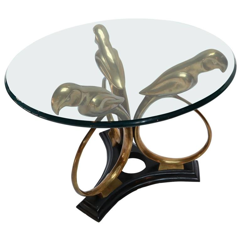 Brass and Metal 1960s Parrot Side Table with Glass Top For Sale