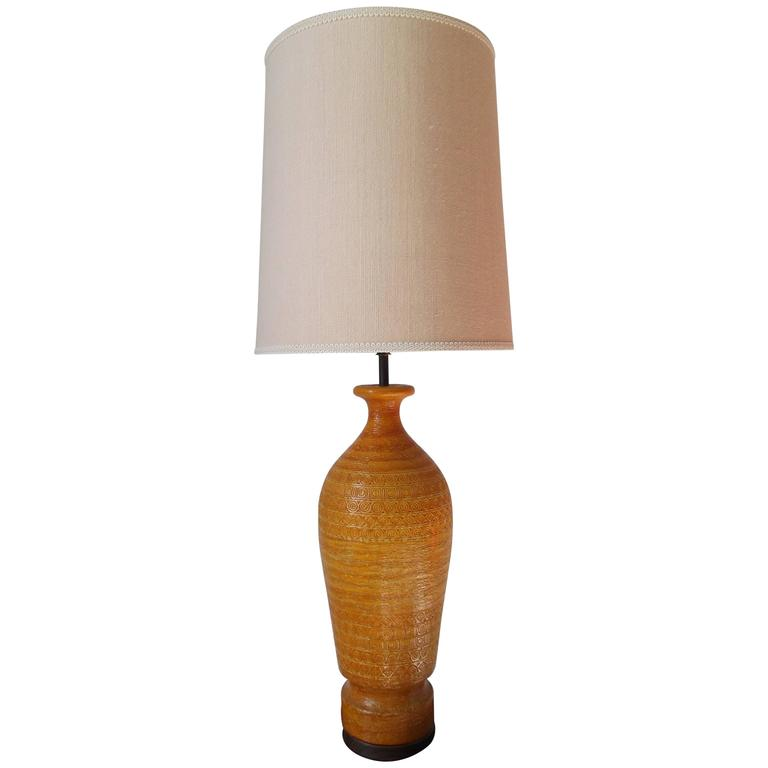 Bitossi For Raymor 1950s Tall Italian Pottery Table Lamp For Sale